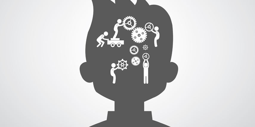 Brain gears symbol concept for team work